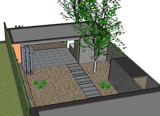 doorkijk tuinhuis, sobere gevelmaterialen