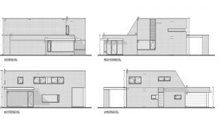 moderne architectuur, minimalistische woning, energiezuinig