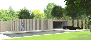 poolhouse geïntegreerd in tuinwand